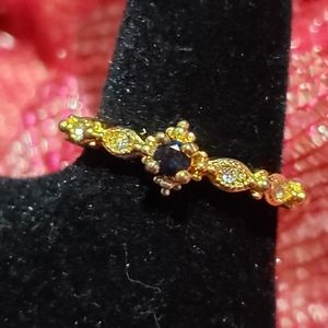 white and blue sapphire gold plated ring